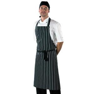 Dennys Large Cotton Striped Apron Chefs Kitchen Cooks Reinforced (DP85)