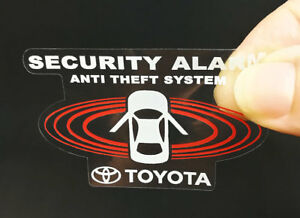 2 Car Alarm Decals FOR Toyota, Inside/Outside Glass, Security Window STICKERS