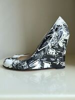 CHRISTIAN LOUBOUTIN Black & White Leather Wedges RARE SZ 37 UK 4 US 7