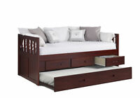 TWIN MISSION CAPTAINS BED WITH 3 DRAWER STORAGE AND TWIN TRUNDLE IN MERLOT FI...