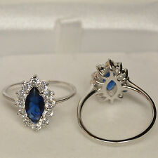 Bague Princesse T52 Oeil Bleu Marquise Saphir Cz Argent Massif 925 Dolly-Bijoux