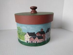 Vintage Pantry wood nesting box w/lid and handle. Country painted scenery.