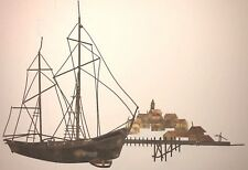 Curtis Jere Mid Century Metal Sculpture Wall Art Sail Boat Sloop Schooner Ship