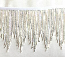 "Bright Shining Silver 5"" beaded fringe, great for any project.  #456"