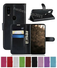Leather slot wallet stand flip Cover Skin Case For Motorola Moto One Action