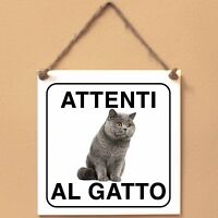 British Shorthair 1 Attenti al gatto Targa gatto cartello ceramic tiles