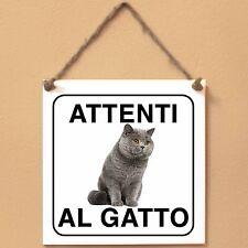 British Shorthair 1 Attenti al gatto Targa gatto cartello ceramic tiles