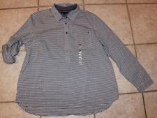 NWOT Tommy Hilfiger Womens XXL Grey & White Striped Long Sleeve Popover Shirt