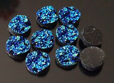 20x Resin Druzy Cabochon Round Flatback Royal Blue 12mm (TSC80)