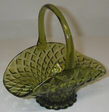 Basket Glass Diamond Cut Green Applied Handle Scalloped base Collectible
