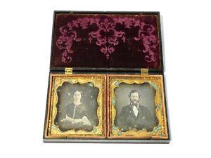 19thC DOUBLE Daguerreotype Photographs Couple in Gilt Frame & Gutta Percha Case
