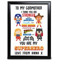 Personalised Godmother Gift Christening Superhero Birthday Christmas Print