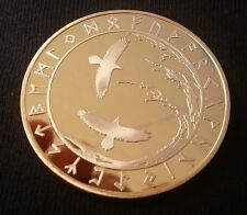 Viking Tree of Life Ravens Huninn & Muginn & Talisman 24K Gold clad Coin Token