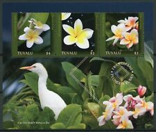 Tuvalu 2019 MNH Frangipani Plumeria Rubra Egrets 3v M/S Flowers Birds Stamps