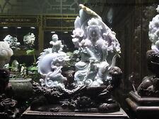 China jadeite emerald Jade Dragon fish Kwan-Yin Guanyin Buddha Statue