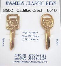 1976 Eldorado Original NOS C&D Gold Cadillac Crest Wreath Key Set B50C & B51D