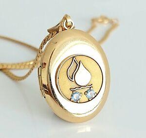 "Beautiful Vintage 12K 12ct Gold Filled & Blue Topaz Locket Pendant Necklace 18"""
