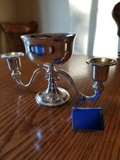 VINTAGE E. P. ZINC SILVER PLATED ENGLAND DOUBLE CANDLE HOLDER & CENTER HOLDER