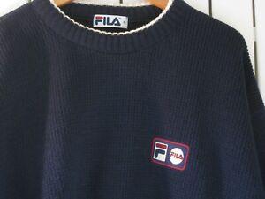 Vintage 90s Mens Navy Fila Knitted Crew Jumper, Size L