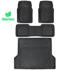 Motor Trend Deep Dish Rubber Floor Mats & Cargo Set - Black - Premium 4 Piece
