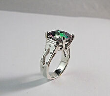 STERLING SILVER 12x12 CUSION CUT MYSTIC TOPAZ RING WITH ACCENT STONES SIZE 6