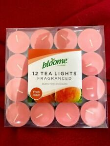 Pack of 12 Bloome Scented Tealights- Fresh Peach
