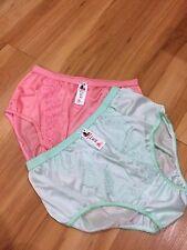 panties vintage bikini nylon satin lace hi brief size XL Lacy [x2] 1pink+1green