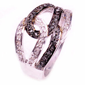 1+Ct White Raw Natural Diamond 925 Sterling Silver Engagement Ring Size 7.5