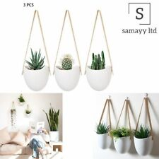 Succulent Home Flower 3pcs Pot Holder Decorative With Rope Hanging Planter Wall