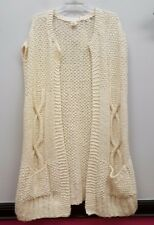 THE EILEEN FISHER PROJECT Size L Cream Ivory Chunky Knit Duster Vest Sweater NEW