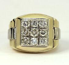 Mens diamond president ring 14K 2 tone gold 9 round brilliant 2.10C 18.9G sz8.25