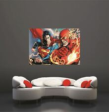 More details for the flash vs superman comic cartoon giant art print poster picture