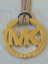 "NEW MICHAEL KORS LARGE 2"" GOLD MK LOGO CHARM / BEIGE LEATHER STRAP HANDBAG FOB"