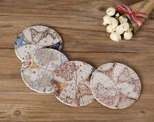 4 Round 10cm Retro World Map PU Coasters Cup Drink Holder Mat Tableware Placemat