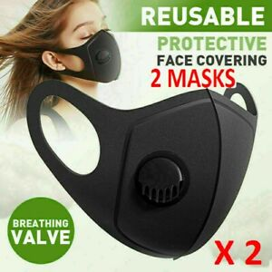 Pack of 2 Reusable Washable Breathable Valve 3D Face Mask Cover Black - UK STOCK