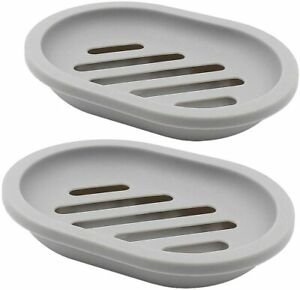 TOPSKY 2-Pack Soap Dish with Drain, Soap Holder, Soap Saver, Easy Cleaning, Dry,