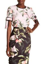 TED BAKER pink peach blossom flower floral print bow trim top blouse party 3 12