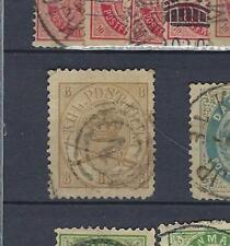 DANEMARK  Yv&T n° 14 oblitéré/used  8s. bistre-olive 1864