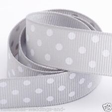Full Roll 10m Polka Dot Grosgrain Ribbon - Silver - Crafts - Sewing