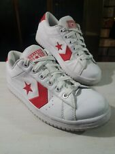 Vintage Converse NBA Low Top Mens Leather Basketball Shoes Size 9.5 White Red