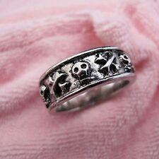 Argento vintage antico stile teschio ossa incrociate anello punk goth