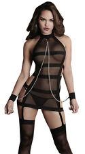 Sheer and Strap Bondage Garter Dress in Black BDSM Cosplay