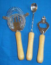 3 Piece Bar Set Strainer, Mixing Spoon, Bottle Opener Wooden Handles