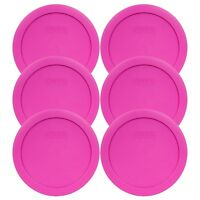 """Pyrex 7201-PC 6"""" Pink Plastic Storage Cover Lid 6 Pack New for 4 Cup Glass Bowl"""