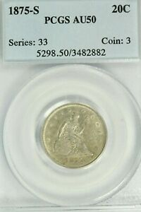 1875-S Twenty Cent Piece : PCGS AU50  Lots of Luster