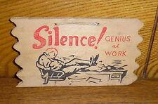 Vintage Wood Postcard - Silence! Genius At Work - Japan