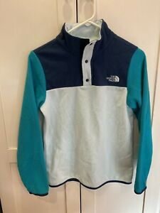 The North Face Girls Blue Colorblock Pullover Fleece Large 14 16