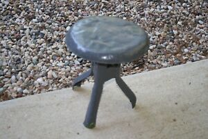 Small Gray Metal Industrial Shop Stool