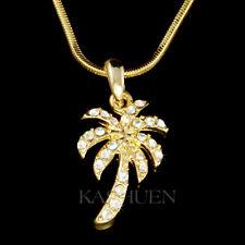~Palm Tree~ made with Swarovski Crystal Coconut Beach Wedding Gold Tone Necklace