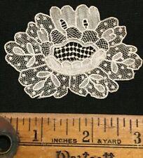 "Antique 1800's Point de Gaze Hand Made Lace Motif 3"" X 2 "" Lovely Flower"